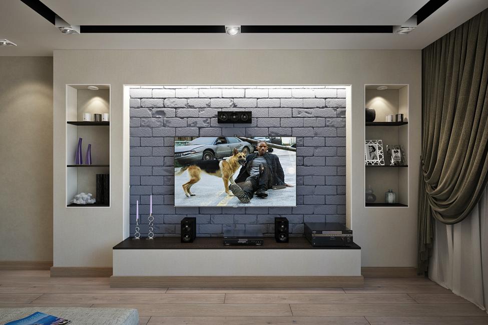 Креативный прием — стена, на которой расположен монитор, облицована кирпичом