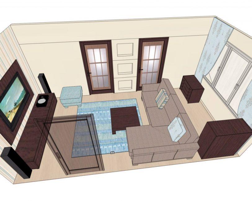 План комнаты для расстановки мебели