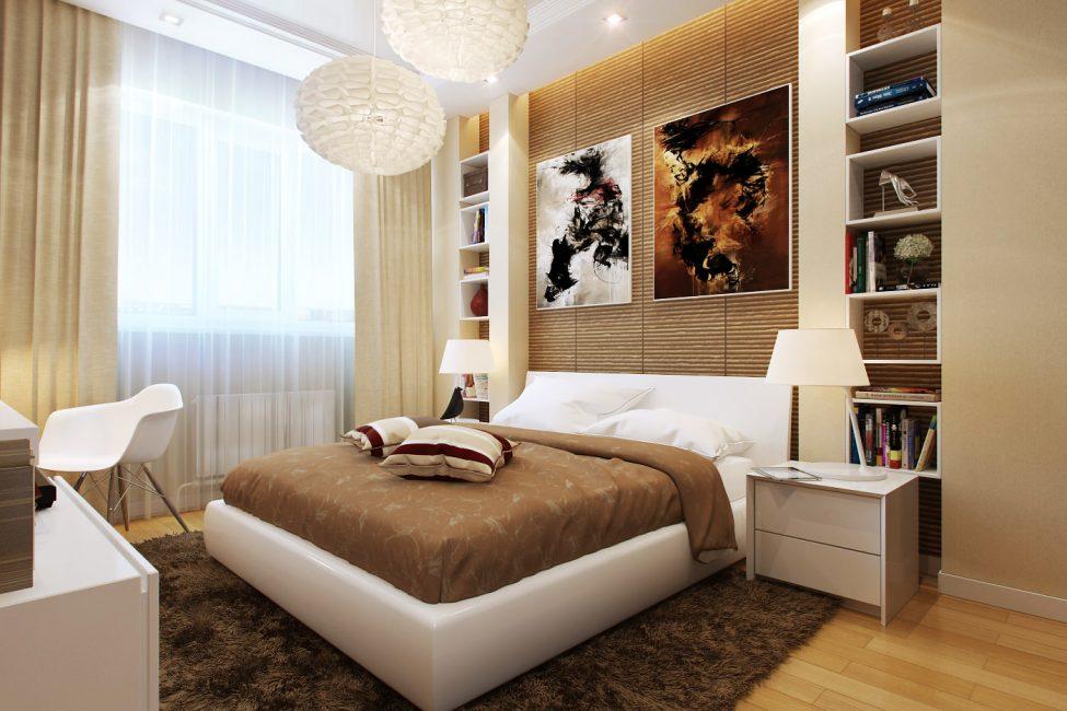 Полноразмерная спальня с мебелью