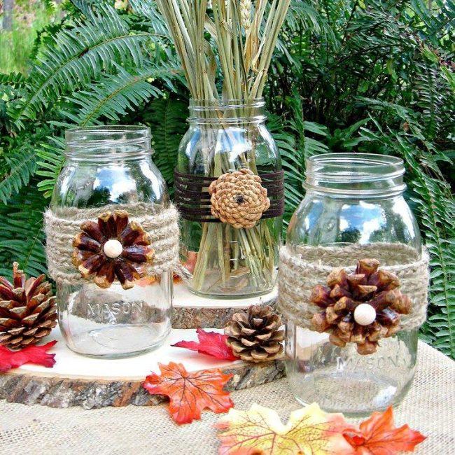 Декор банок цветами