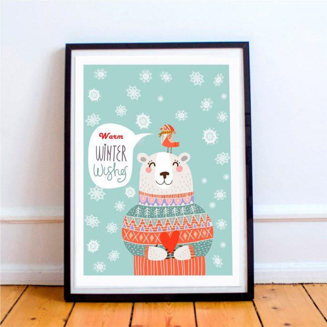 Украсьте детскую новогодними постерами