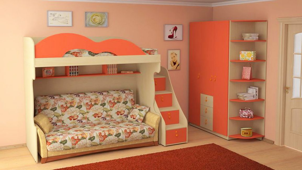 Конструкционная кровать в маленькой комнате