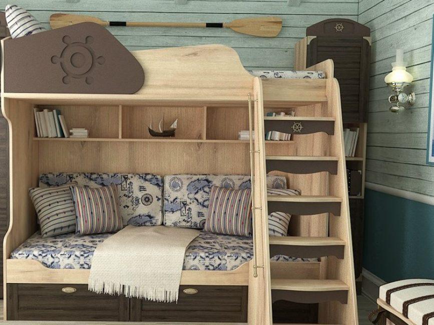 Деревянная лестница для детской двухъярусной кровати