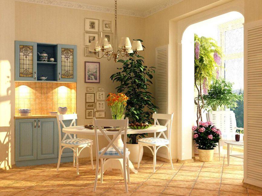 Максимум растительности для комнаты в стиле прованс