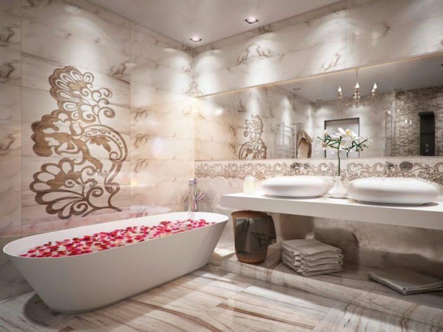 Панно из МДФ панелей в ванной