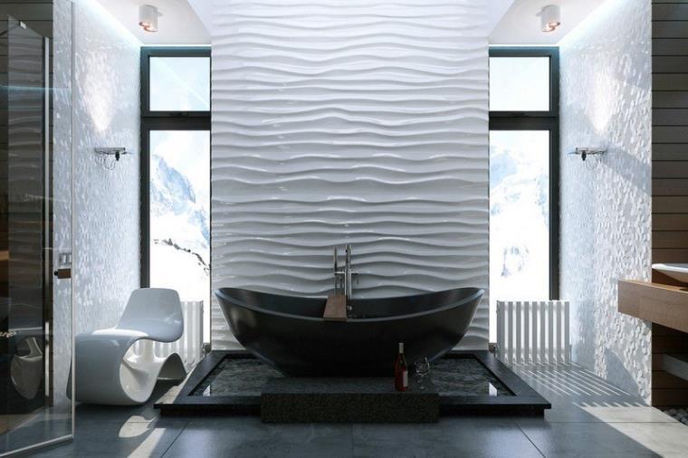 Светлая ванная с черными акцентами