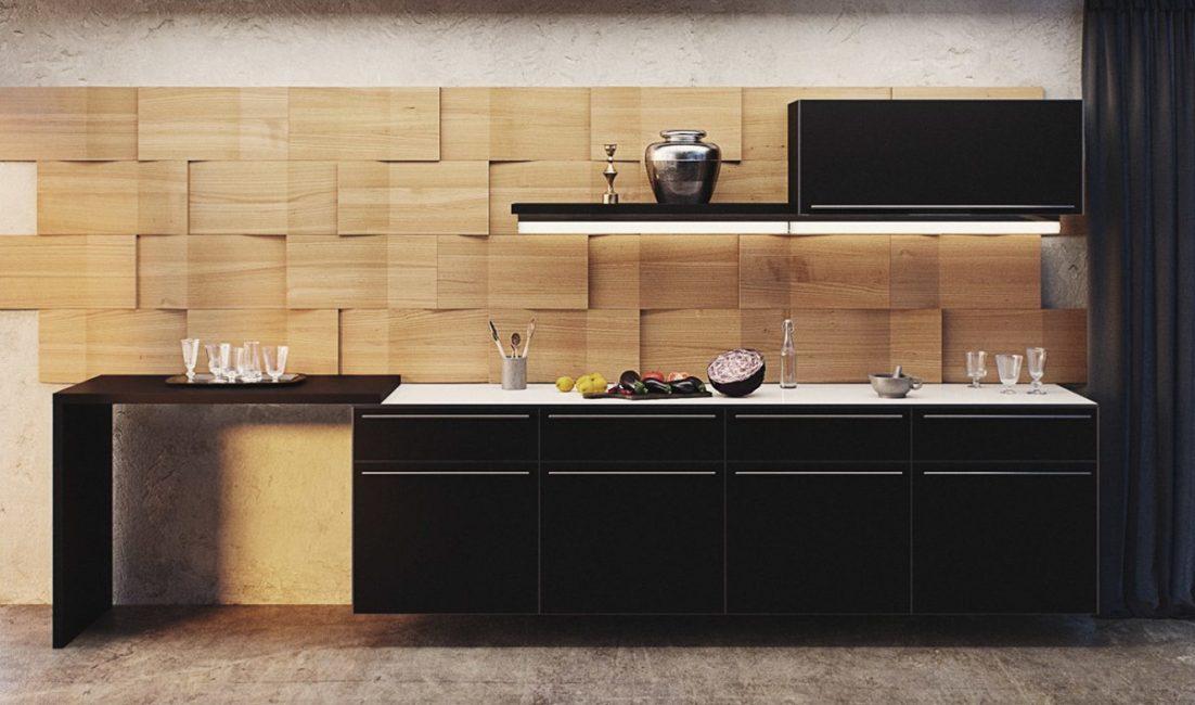 Отделка стен на кухне панелями МДФ