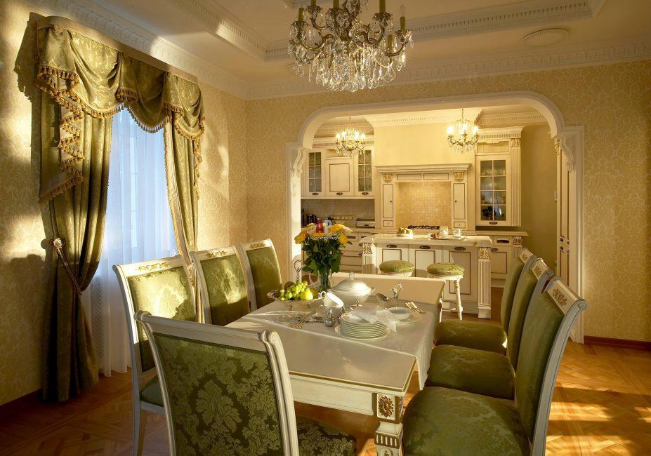 Кухня и гостиная с освещением в одном стиле