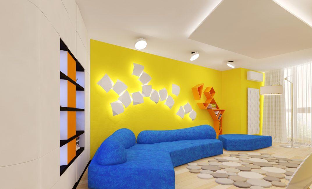 Оформление стены за диваном