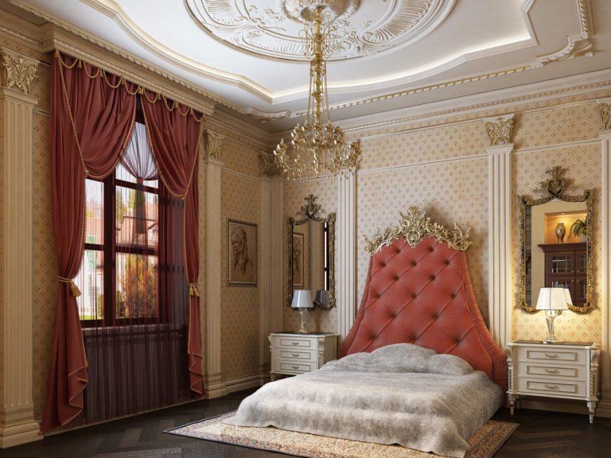 Позолоченные гипсовые элементы в спальне