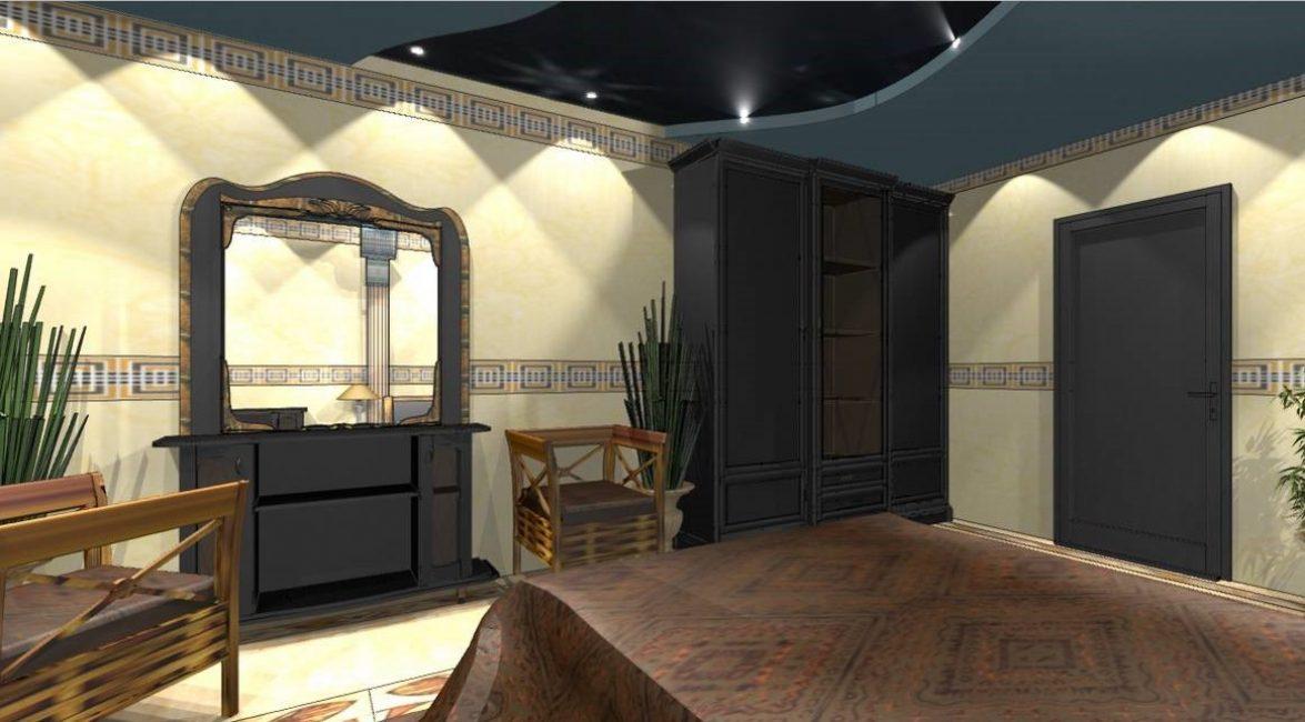 Синий потолок для спальни в египетском стиле