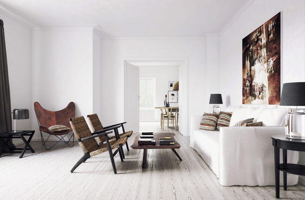 Белые стены в интерьере квартиры