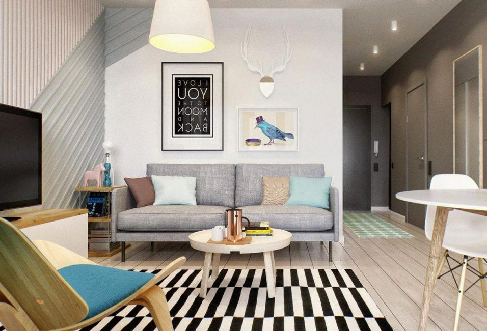 Часть комнаты можно покрасить другим цветом