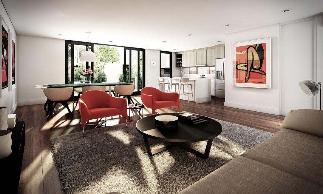 Мебель, расставленная внутри помещения, увеличивает пространство