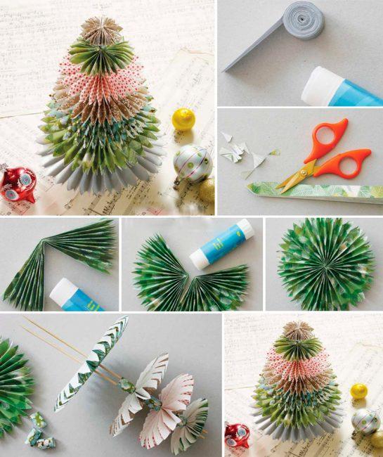 Елочка в японском стиле из бумаги для оригами