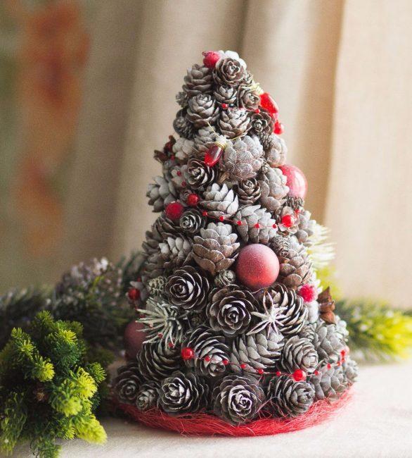 Новогодняя ель из шишек для декора
