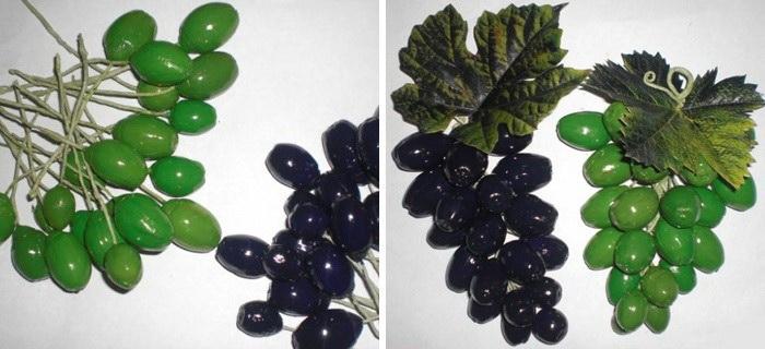 Виноградная гроздь из крашеных желудей