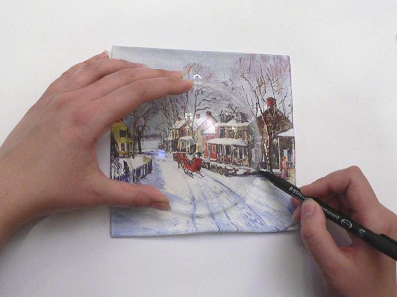 Вырезаем рисунок из салфетки
