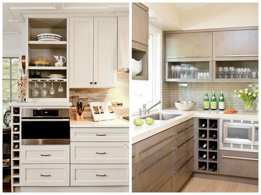 Открытые полочки для хранения посуды