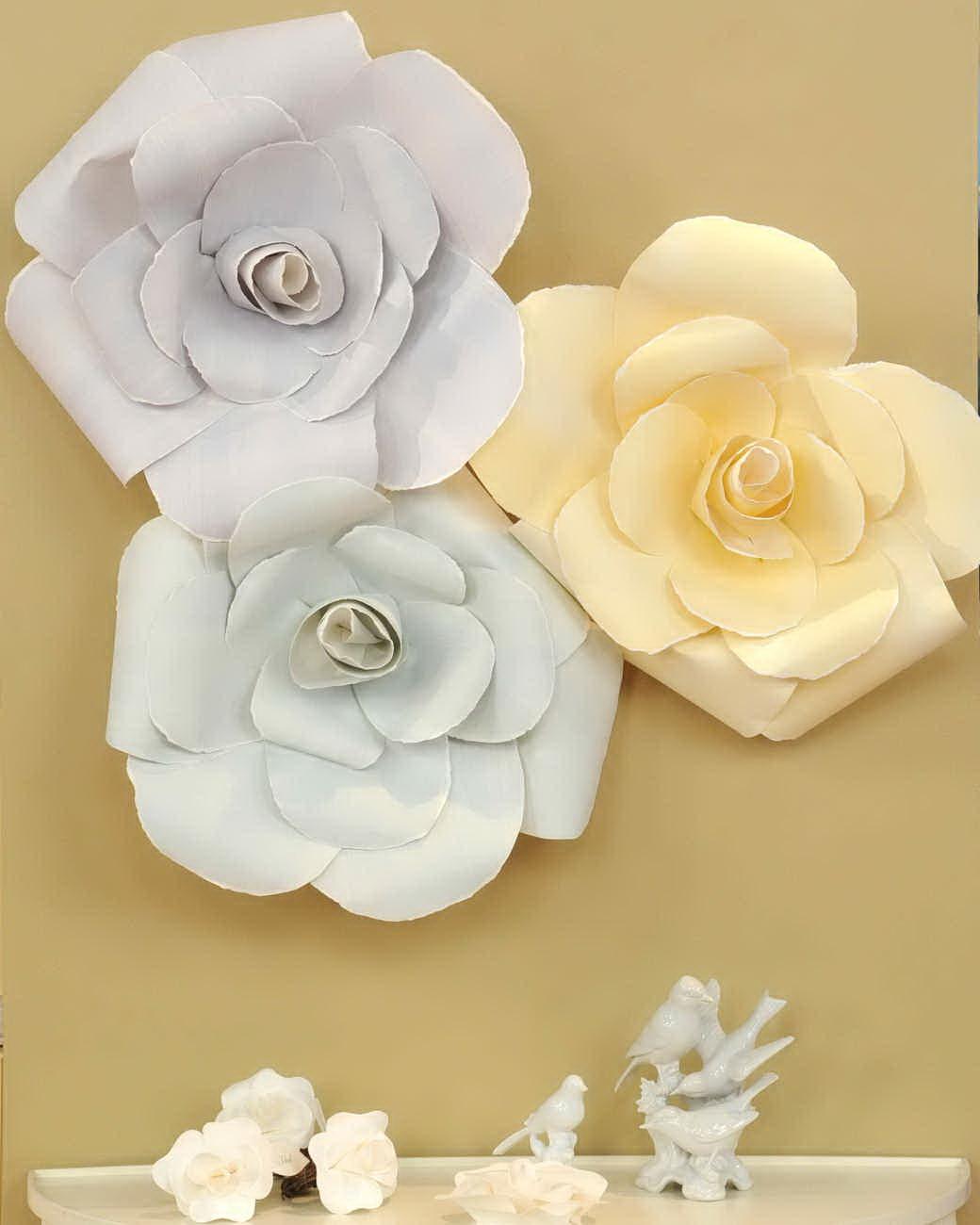 Бумажные цветы на стену шаблоны