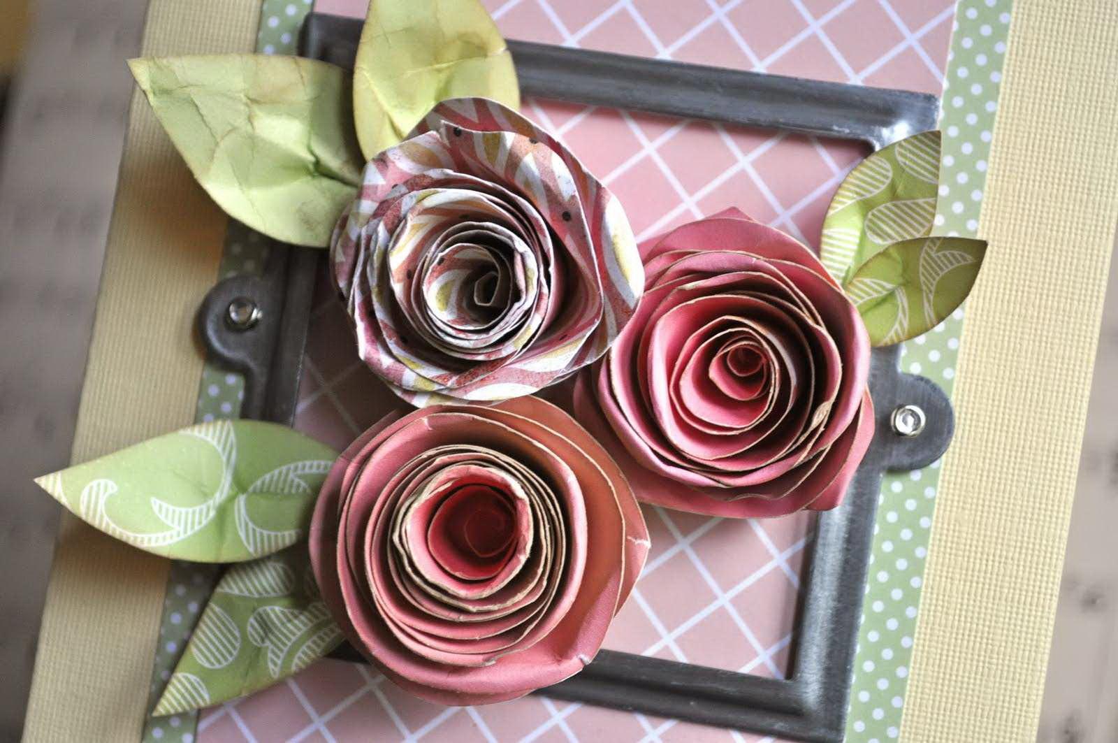 Открытка из спиральных роз