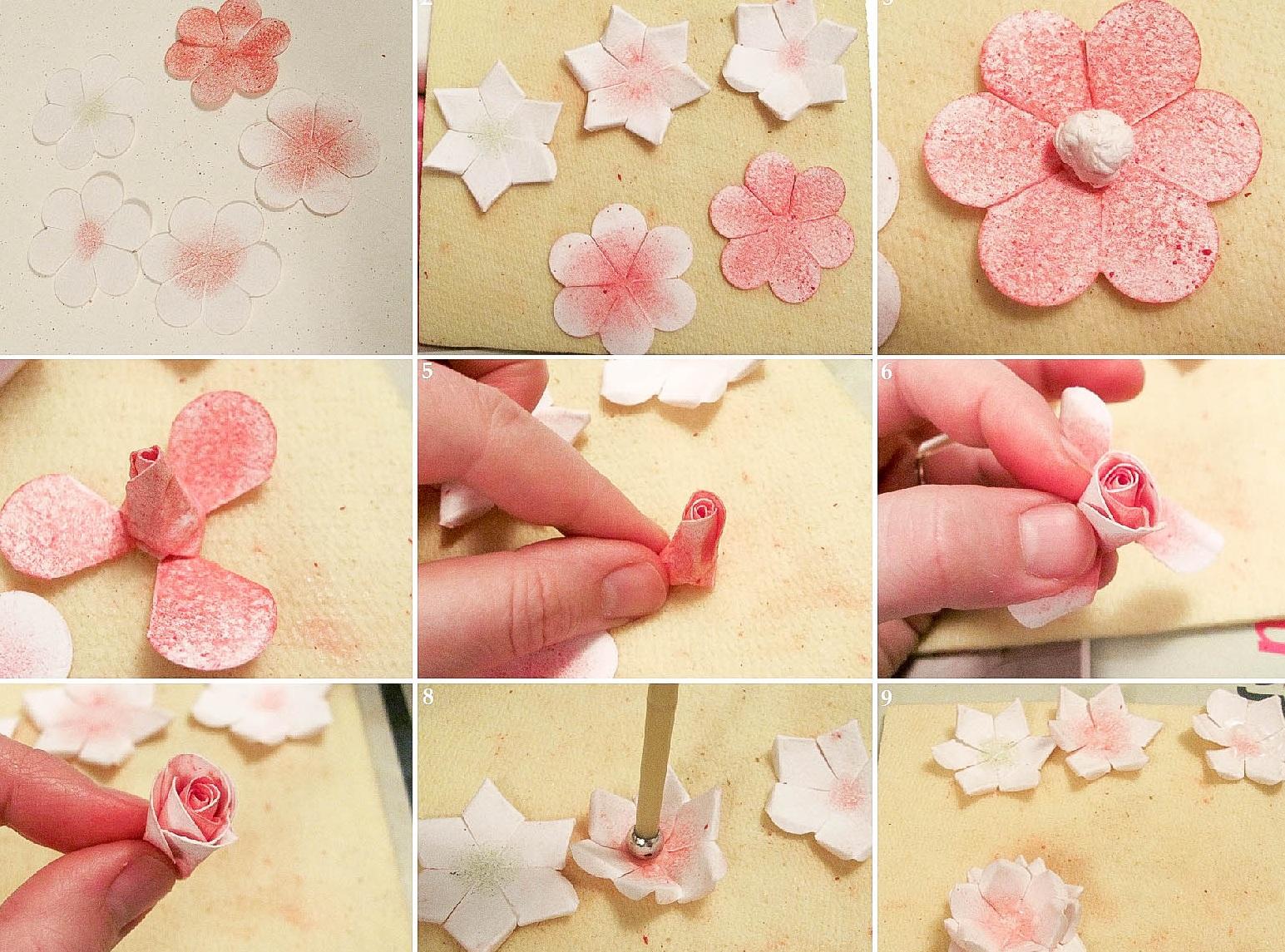 Цветы украшения для открыток мастер класс