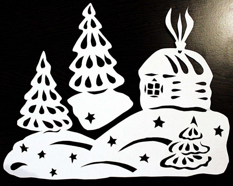 Трафаретами можно украсить любое окно перед Новым годом