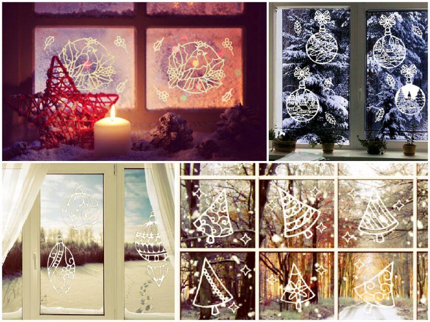 Красивые вытынанки на Новый год