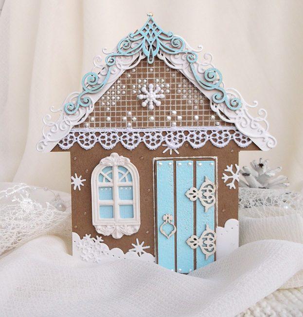 Сделайте пряничный домик из крафтовой бумаги и украсьте подоконник