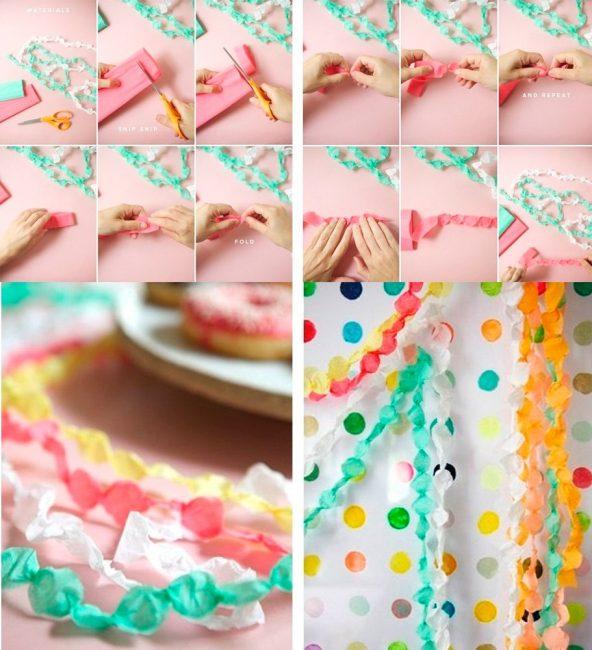 Разноцветная гирлянда из гофрированной бумаги