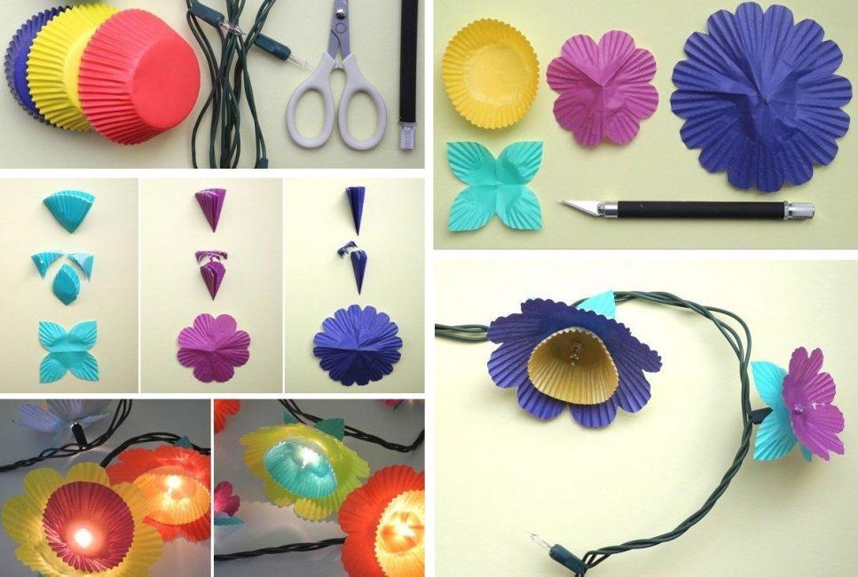 Гирлянда из разноцветной гофрированной бумаги с лампочками - дерзкая и оригинальная