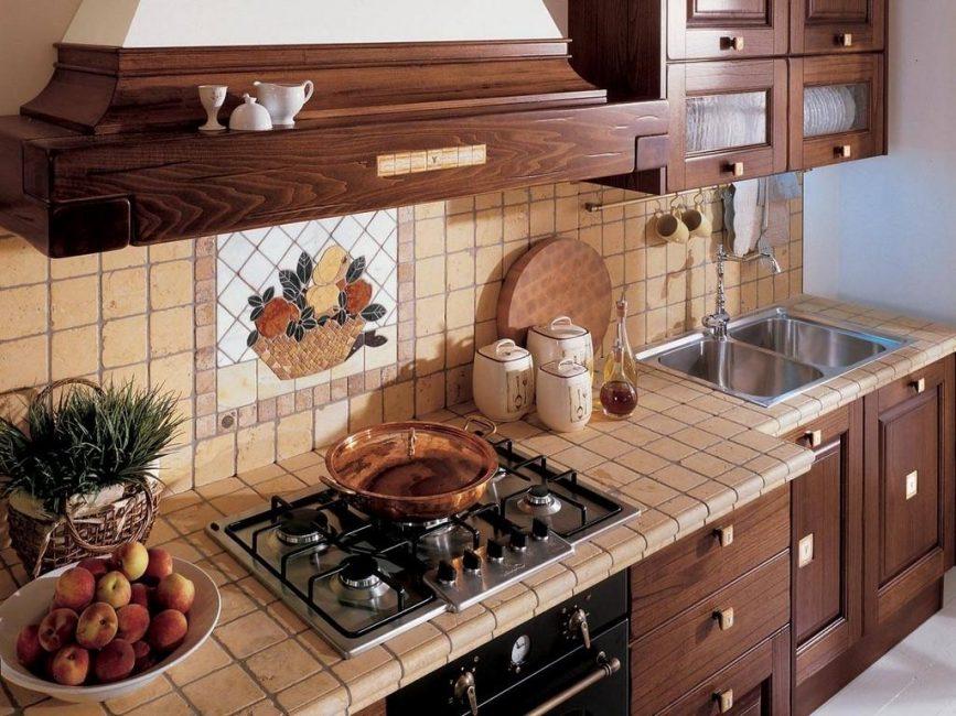 Терракотовая плитка в интерьере кухни