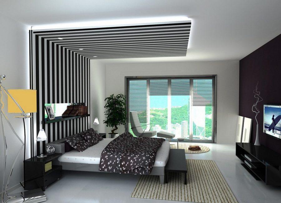 Вертикальные полосы на обоях для визуального увеличения высоты потолка