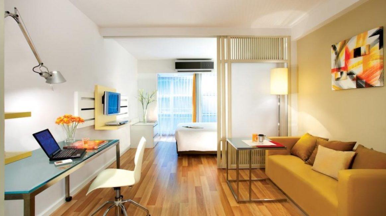 Дизайн для квартиры-студии с одним окном