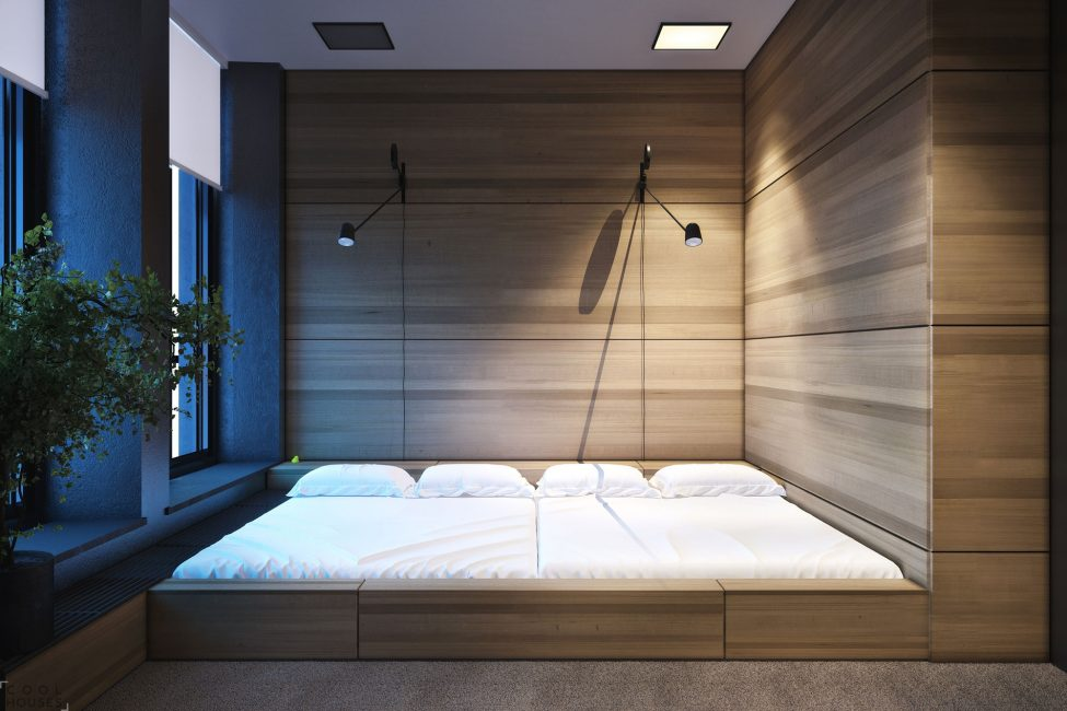 Выделенная зона спальни и место для хранения вещей