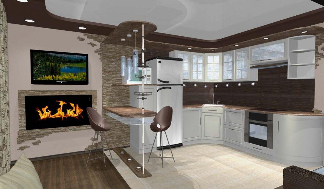 Кухня должна плавно переходить в гостиную