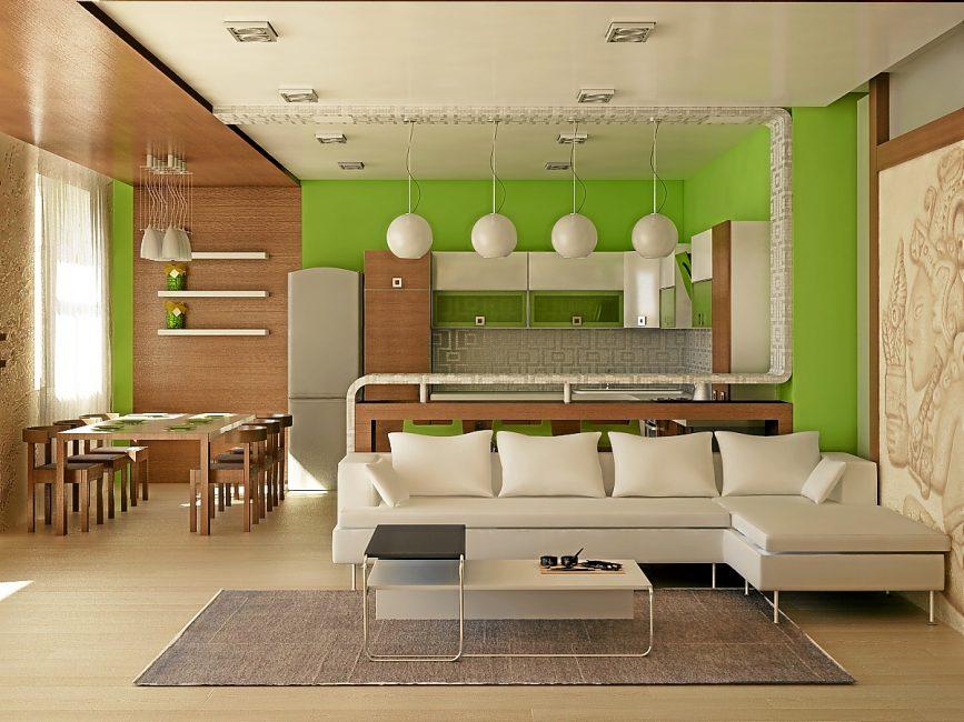 Теплый цвет стен и мебели придаст больше света