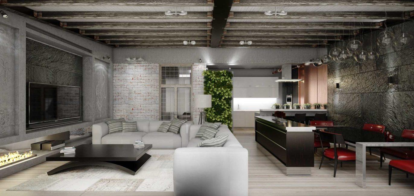 Характерной чертой гостиной в стиле лофт является отсутствие отделки стен и потолков