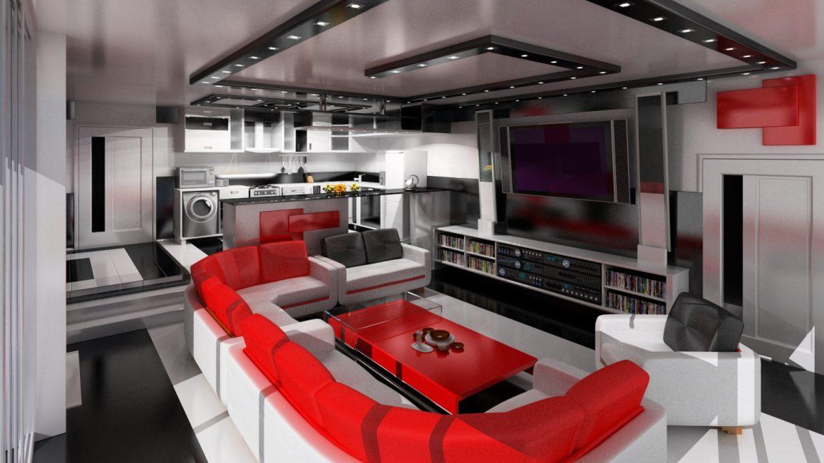 Гостиная в этом стиле подразумевает наличие домашнего кинотеатра