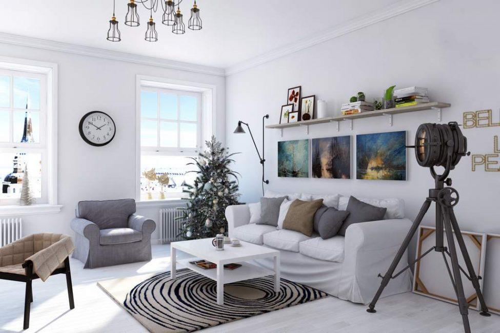 Стены гостиной в скандинавском стиле должны быть идеально ровными