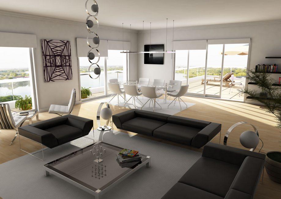 Дизайн черно-белой гостиной