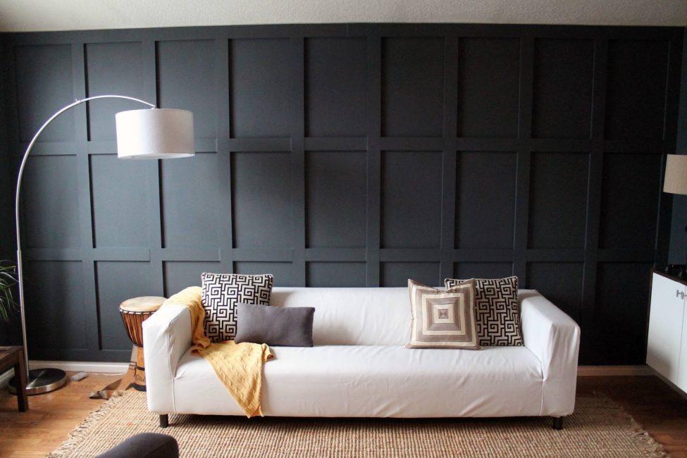 Оформление только одной стены принесет выразительность без гнетущего влияния темноты