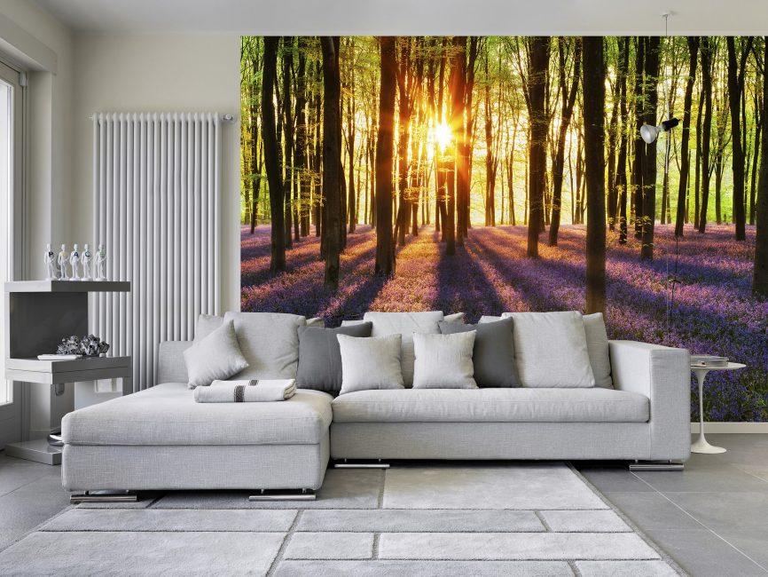 На цветовой выбор влияет также направленность естественного освещения гостиной