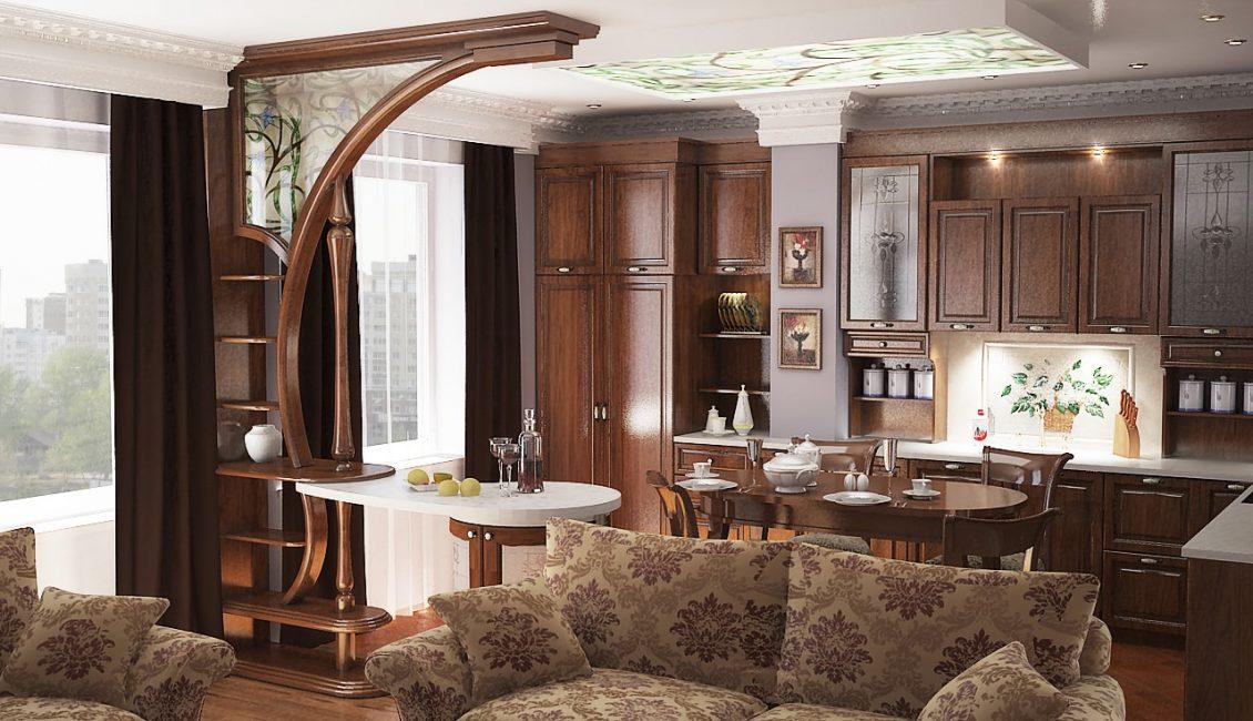 Зонирование помещения с помощью барной стойки