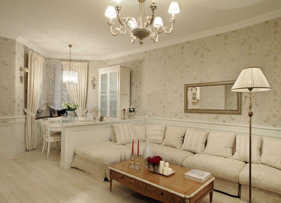 Гостевая комната с длинным угловым диваном