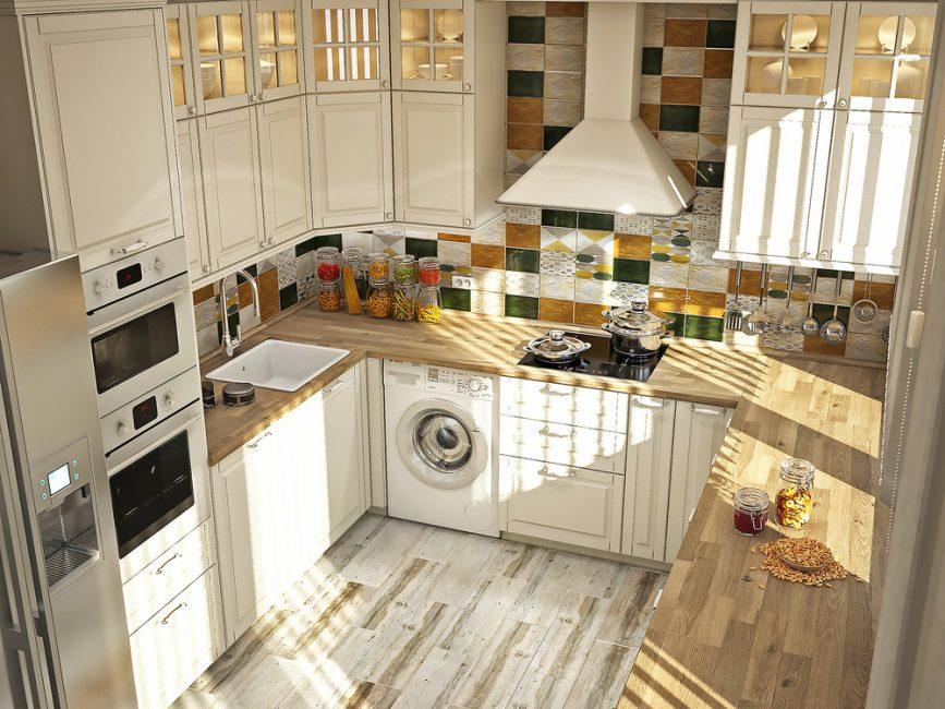 П-образная кухня в светлых оттенках