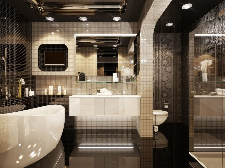 Красивая ванная комната в темных тонах