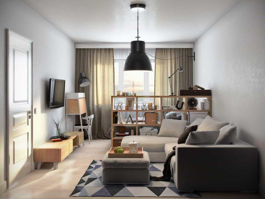 L-образный диван в скромную гостиную