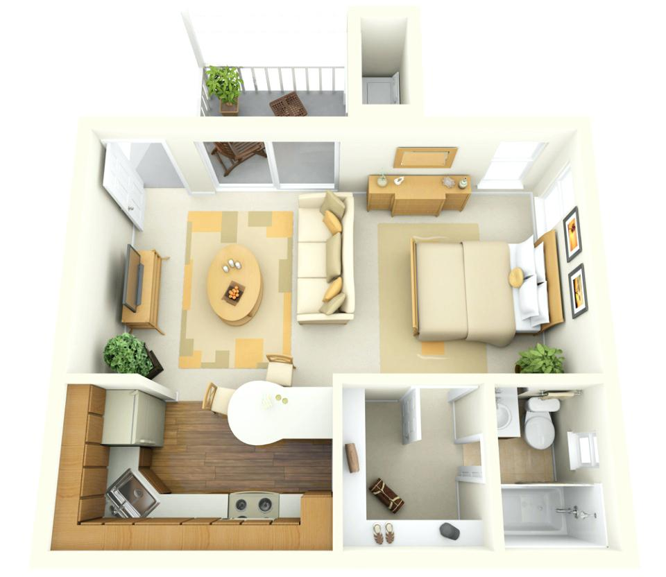 Проекты дизайна 1 комнатная квартира