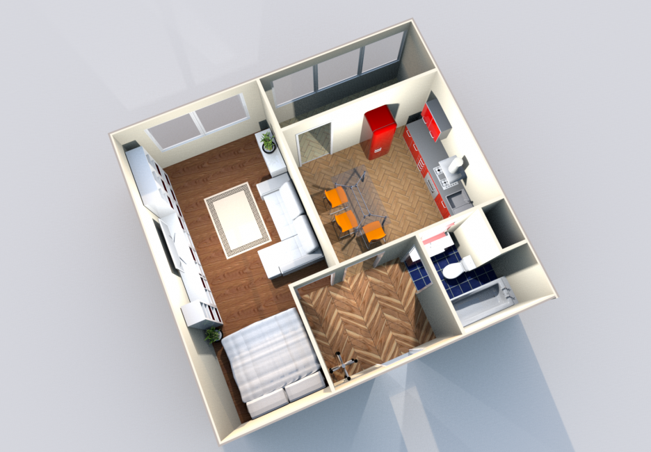 Открытый концепт, максимизирует потенциал вашей небольшой гостиной